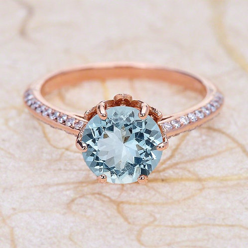 Rose Gold Louts Flower 14K Engagement Ring Center Is A 8MM Round Aquamarine