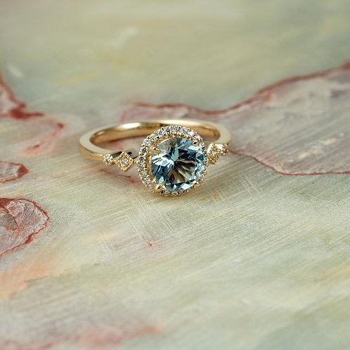14K Yellow Gold Diamond Halo Engagement Ring Center Round Aquamarine