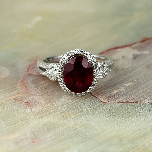 Halo Diamond And Ruby Engagement Ring in 14k White Gold 10X8mm Oval Ruby
