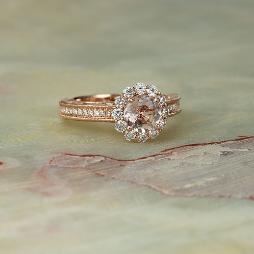 Vintage Morganite Diamond Engagement Ring in 14k Rose Gold Diamond 6.5MM