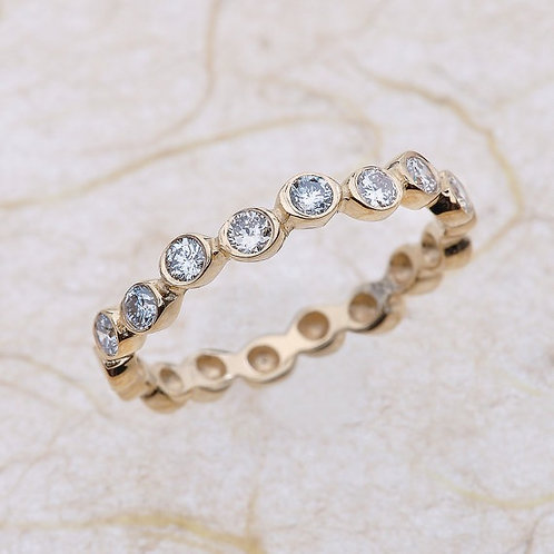 Gold Bezel Anniversary Half Eternity Band 14k Solid Gold