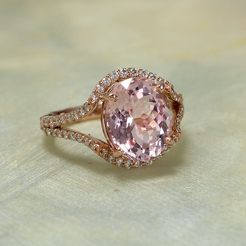14K Rose Gold Diamond Halo Engagement Ring Center Is A 12x10MM Oval Morganite