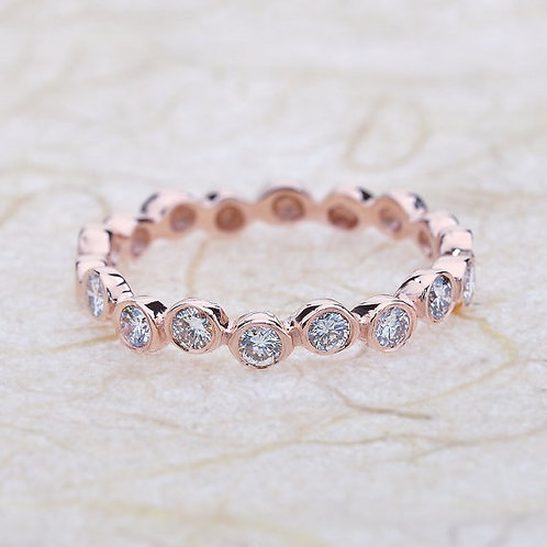 Rose Gold Bezel Anniversary Half Eternity Band 14k Solid Rose Gold