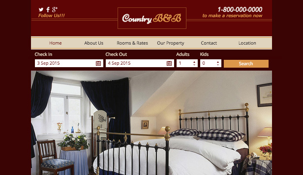 Accommodation website templates – Country B&B