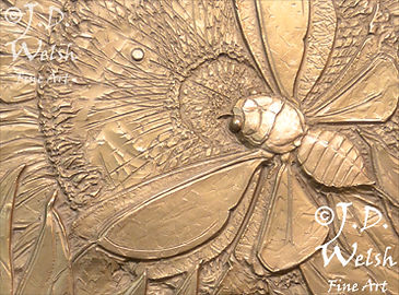 CICADA SUNFLOWER - BRONZE - LOW RELIEF
