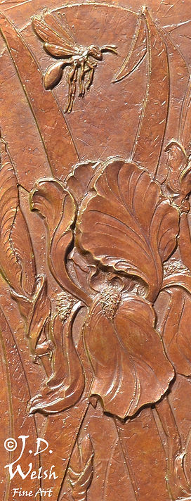 WASP AND IRISES - BRONZE - DETAIL IMAGE - LOW RELIEF