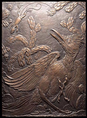 REACTION TIME - THE LIZARD AND THE ROADRUNNER - BRONZE, DETAIL