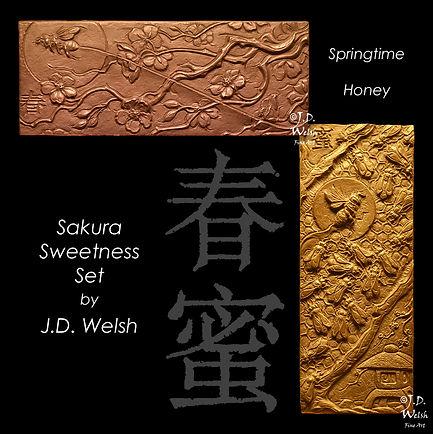 Sakura Sweetness Set - Springtime and Honey - Bronze Relief Sculptures