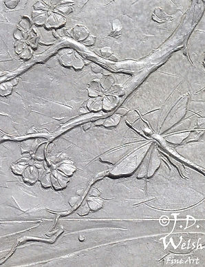MAYFLIES AND TROUT RISE, OKUTAMA RIVER - BRONZE - DETAIL IMAGE - LOW RELIEF