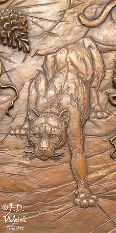 DESCENT INTO THE PINERY  - BRONZE - DETAIL IMAGE - LOW RELIEF