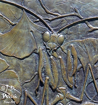 PREY AND MANTIS - BRONZE - DETAIL IMAGE - LOW RELIEF