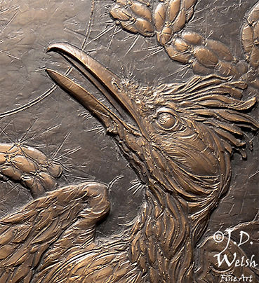 REACTION TIME - THE LIZARD AND THE ROADRUNNER - BRONZE - DETAIL IMAGE - LOW RELIEF