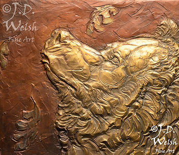 SCENTING WINTERS APPROACH - BRONZE - DETAIL IMAGE - LOW RELIEF