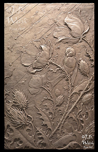 Hailstorm-Maelstrom, Prickly Poppy Field - Bronze Relief Sculpture