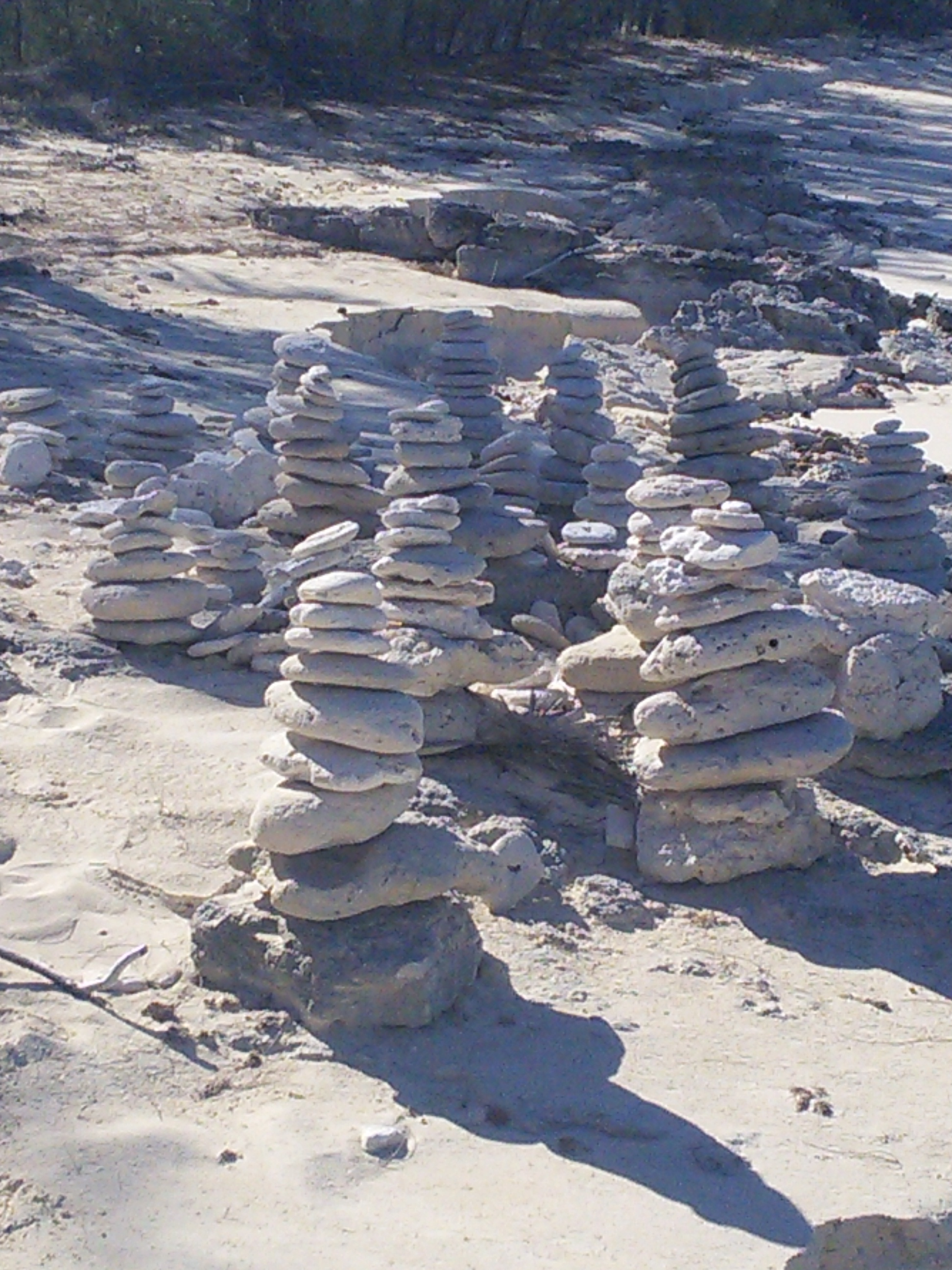 Pompey Rock beach inukchuks