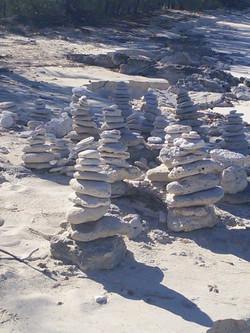 Pompey Rock beach inukchuks