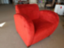 recent recover of a chair in red velvet First Edition Upholstery servicing Brisbane