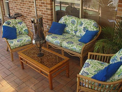 Outdoor cane suite in patterned outdoor fabric