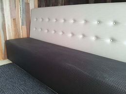 Shop Booth Seating manufactured in sections and delivered to your shop or restaurant, any colour any fabric