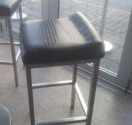 Bar stool re-upholstered in commercial vinyl