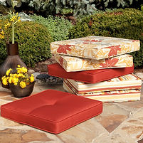 Outdoor seat cushions box piped