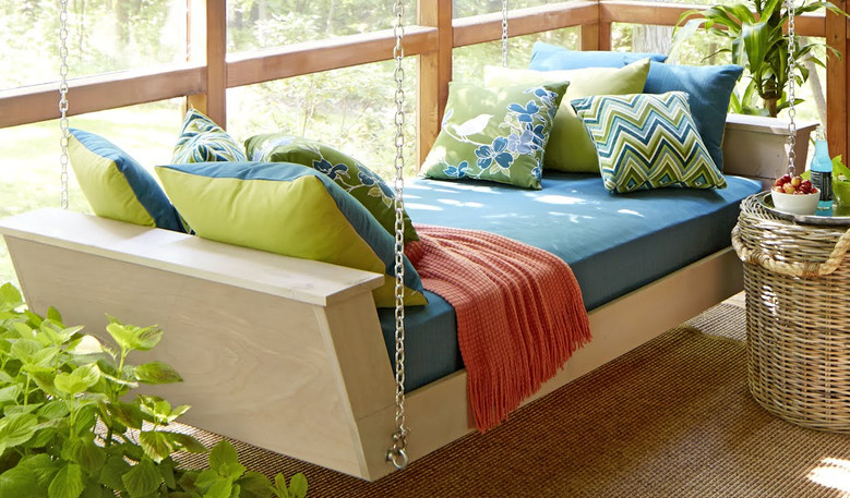 Recent project recover a daybed cushion in a outdoor fabric