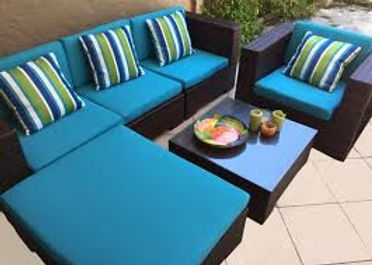 Outdoor Lounge recovered in Warwick outdoor Fabrics Upholstery done by First Edition Upholstery Gold Coast