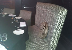 Banquette manufactured from Tasmanian Oak and upholstered in a commercial fabric