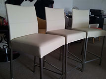 Bar stools restorationin a very sturdy commercial vinyl that fade resistant and waterproof