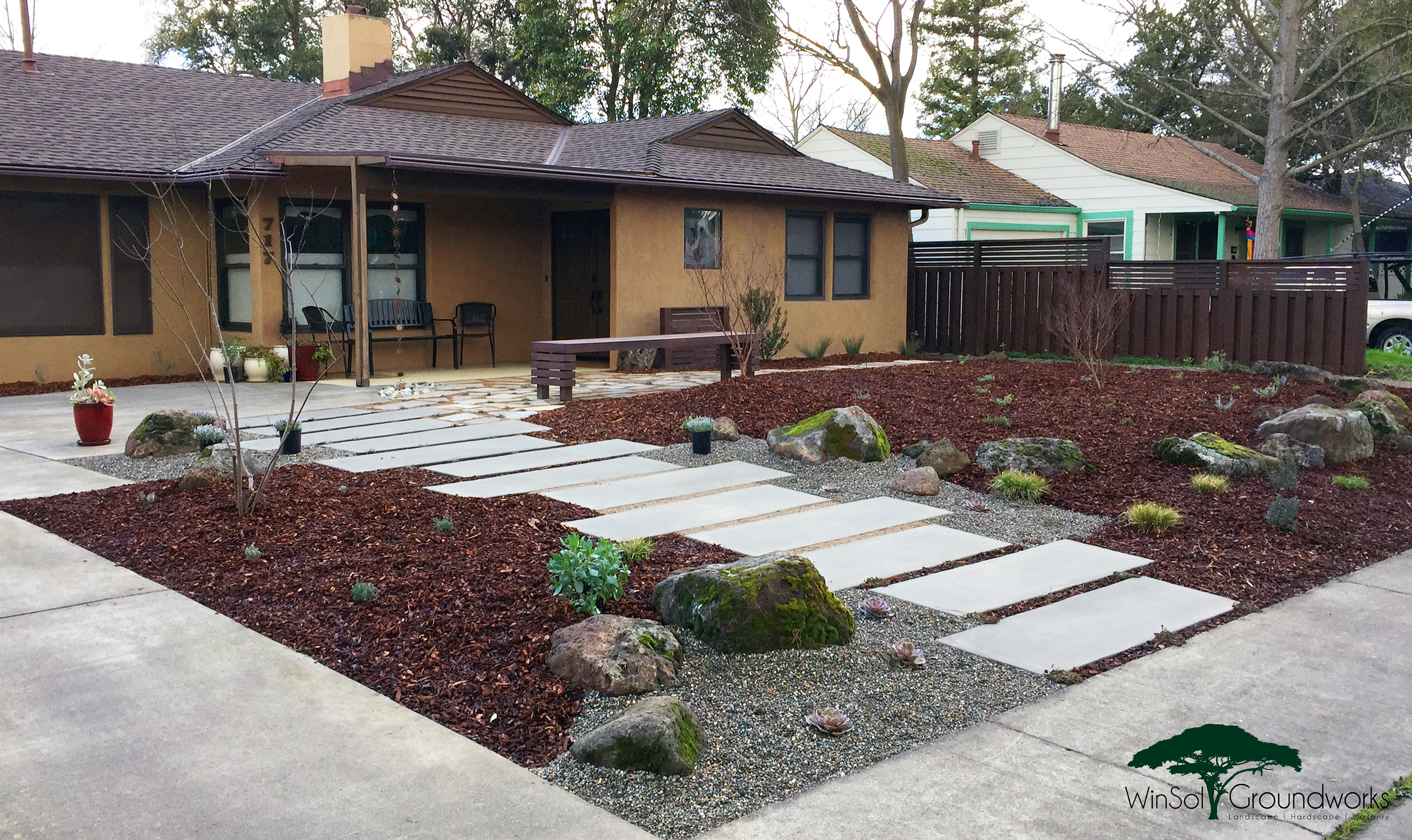 Winsol groundworks sacramento landscaping zero drought for No maintenance backyard