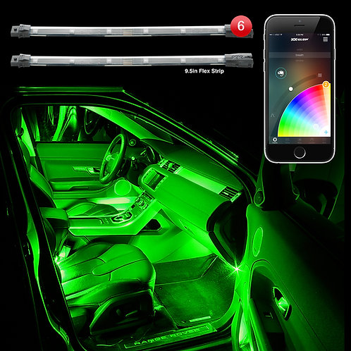 "6pc 10"" Flexible Strip Car Interior Grill App Control Under Car LED Acc"