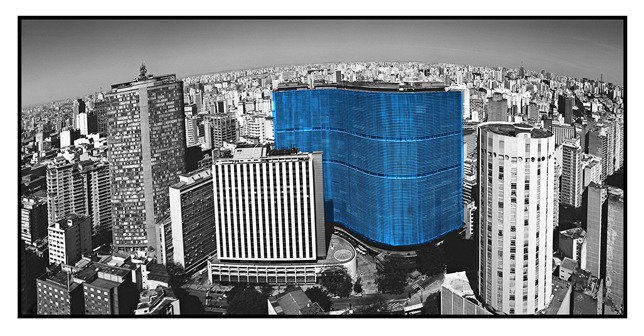 Copan em Azul cor/PB