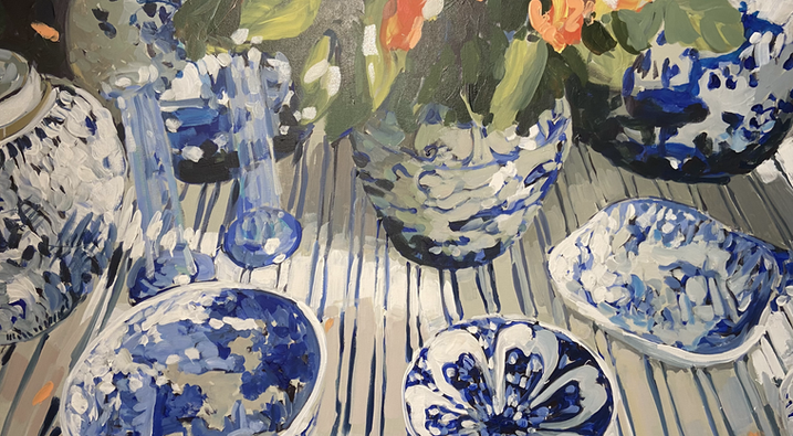 Blue Stripes and Chinoiserie