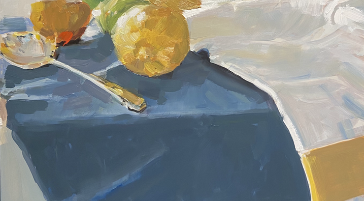 Lemons, Silver on Blue