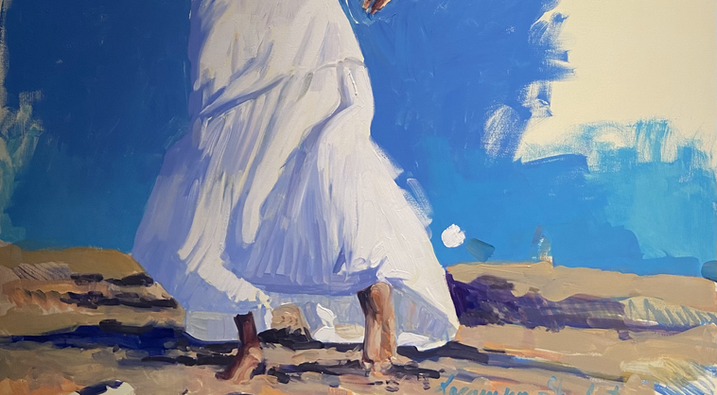 SOLD/ Running in a white dress