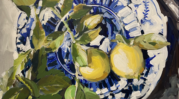 Lemons on Blue and White Plates