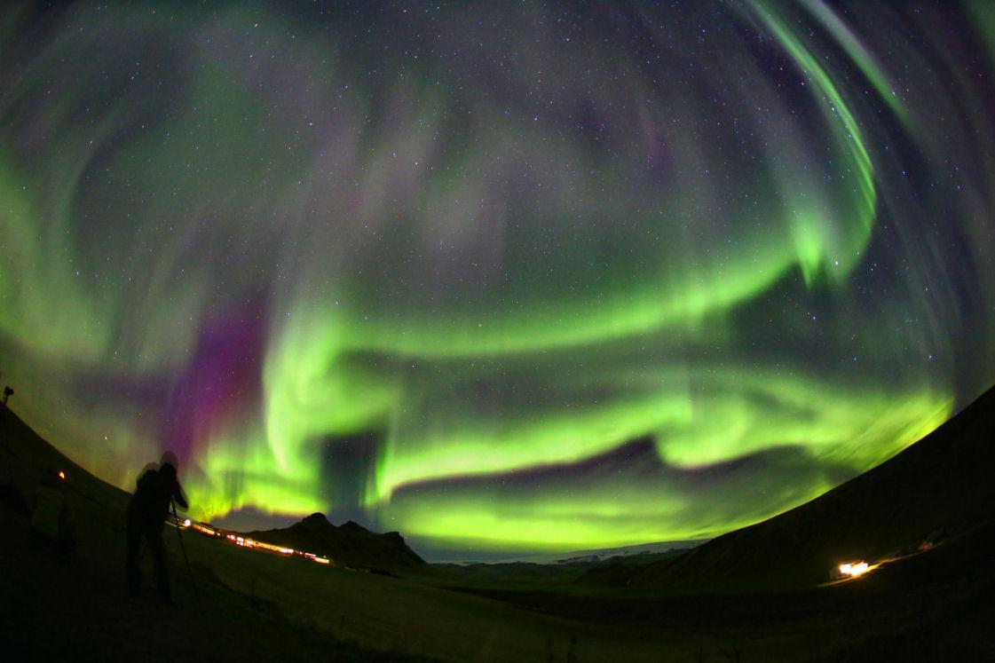 l'aurora boreale da Vik in Islanda