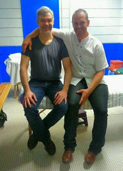 Didier Roux et Jose Herrero Cortés, praticiens acupuncteurs du Pôle de Thérapeutes au Championnat de France de Kung Fu Wushu 2017
