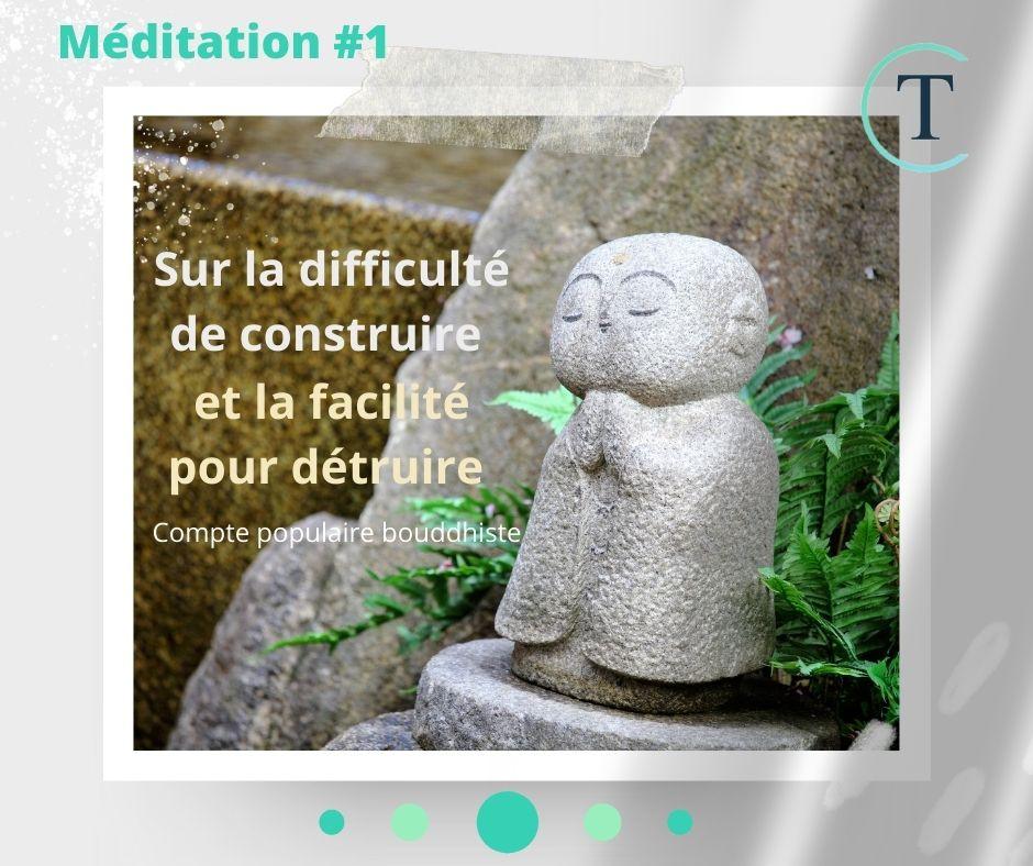 Méditation à la maison #1 - Bouddha et l'assassin. De la facilité de détruire et de la difficulté de construire.