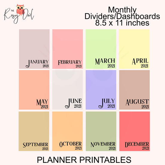 Monthly Planner Divider   Dashboards   8.5in x 11in