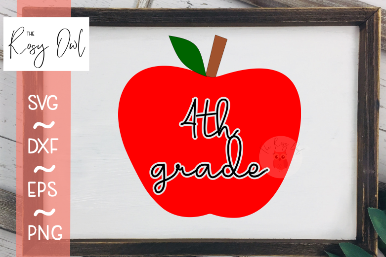 Fourth Grade Apple SVG PNG DXF EPS