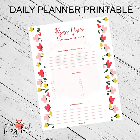 Boss Vibes Planner Printable | Digital Download | Daily Planner Sheet