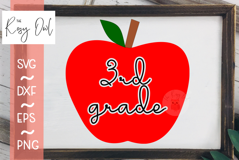 Third Grade Apple SVG PNG DXF EPS