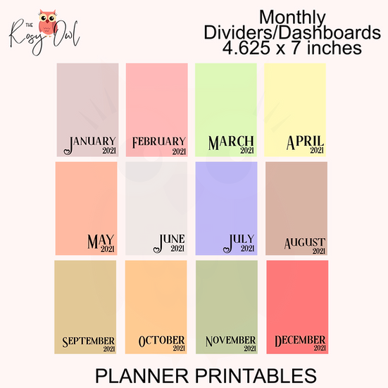 Monthly Planner Divider   Dashboards   4.625in x 7in