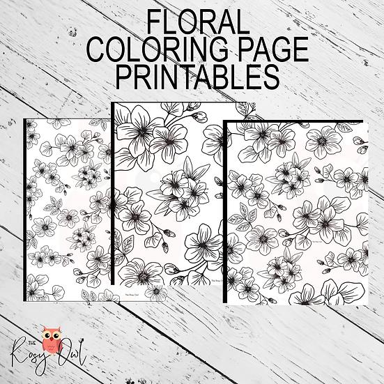Floral Coloring Printables | Digital Download | 3 Page Coloring Sheets