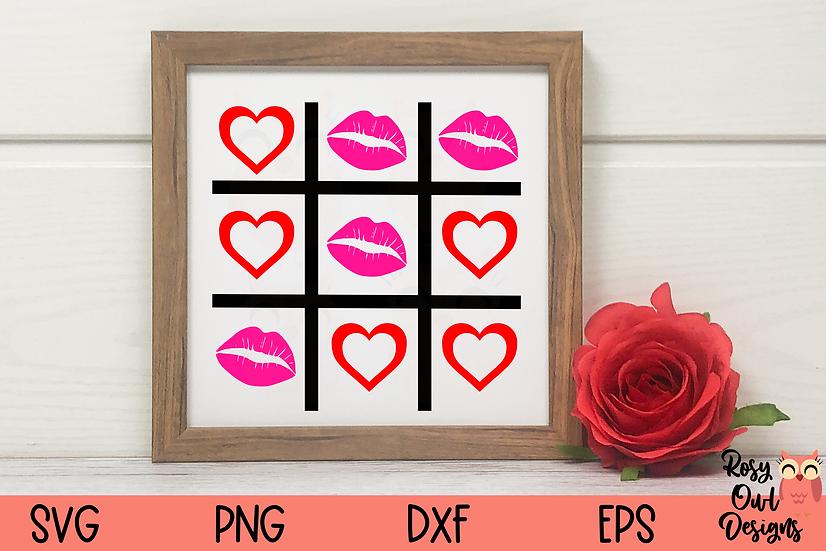 Kiss Tic Tac Toe SVG   Lips SVG   Valentine SVG