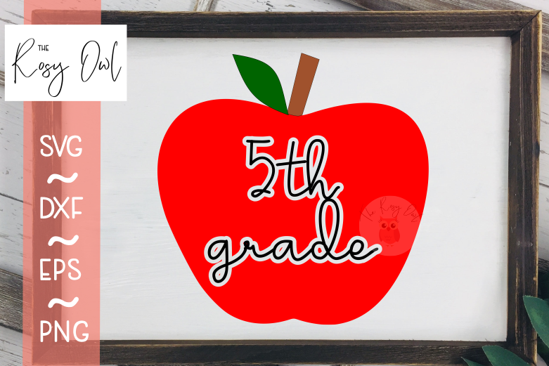Fifth Grade Apple SVG PNG DXF EPS