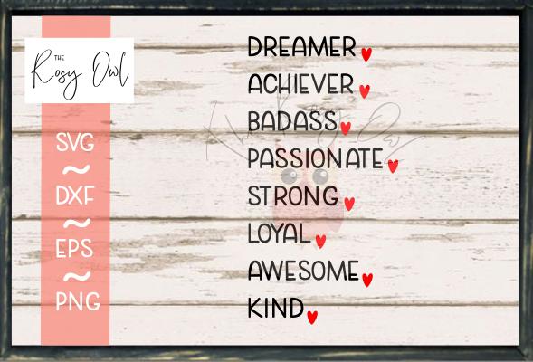 Positive Self Descriptors/Affirmations SVG PNG DXF EPS