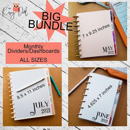 Bundle of Monthly Planner Divider   Dashboards