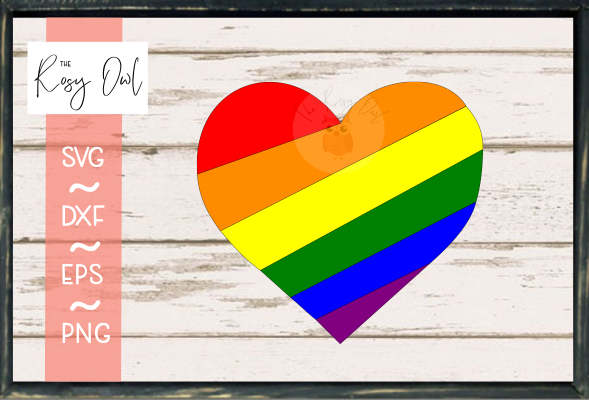 Rainbow Heart SVG PNG DXF EPS